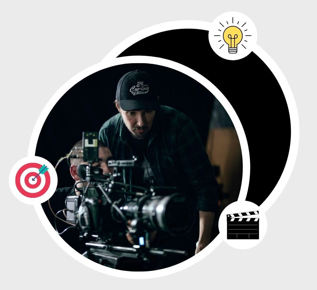 image of filmmakers in action inside a circle surrounded by three icons (clap, light bulb and aim)